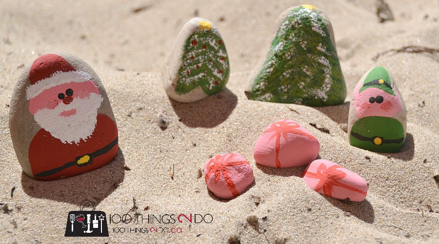 Painted rocks - Santa and his elf