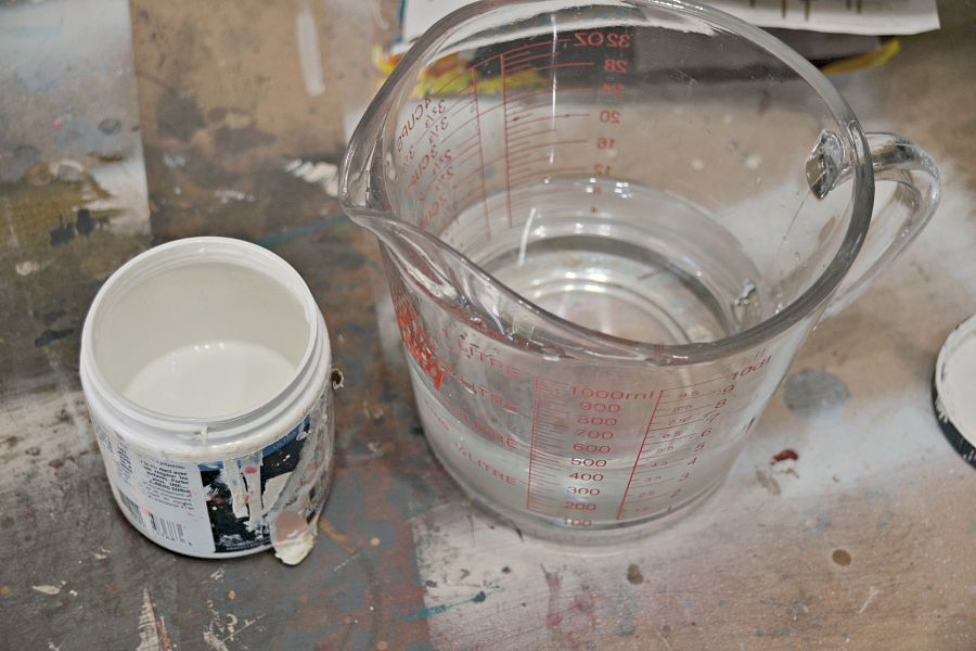 Making a white wash solution for wood - 3 parts water to 1 part paint.