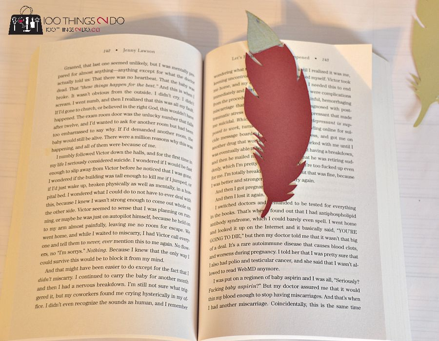 Paper feather bookmark