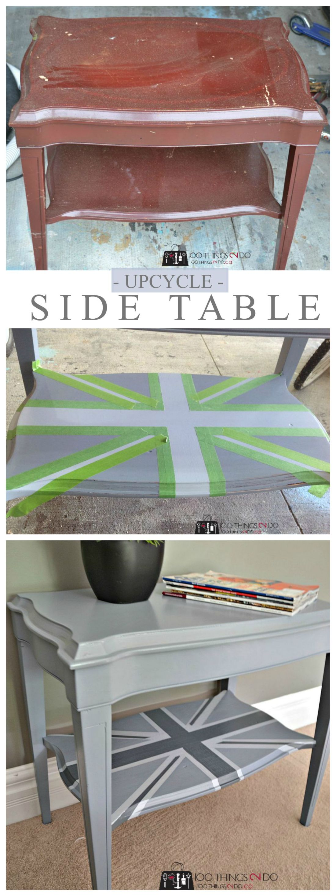 Furniture makeover - side table. From garbage find to Union Jack accent table.