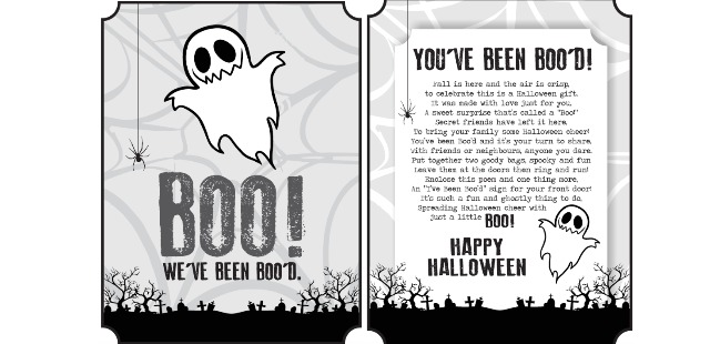 Hallowe'en fun, Hallowe'en printable, You've been boo'd, Boo'd poem, Booing