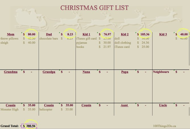 Christmas gift online calculator