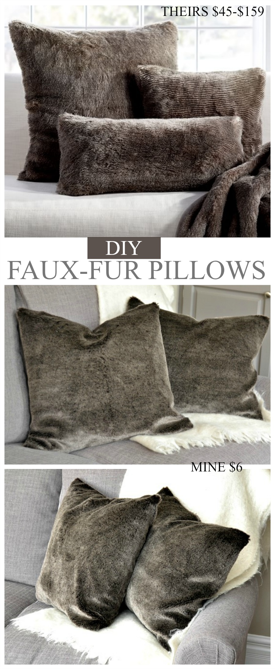 pillow diy sew store fur no watch faux youtube w thrift items pillows