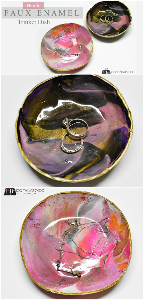 Marbled clay trinket dish - enamel look, but made from polymer clay