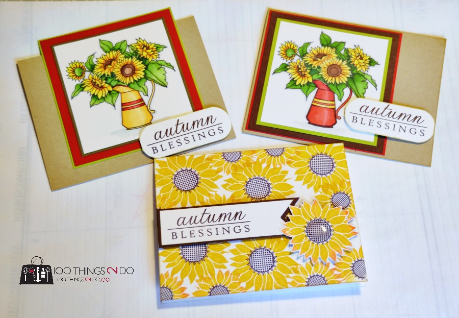 Sunflower greeting cards, Thanksgiving cards - Papertrey Ink