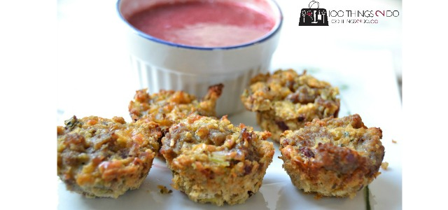 Sausage & Stuffing appetizers with a cranberry dip