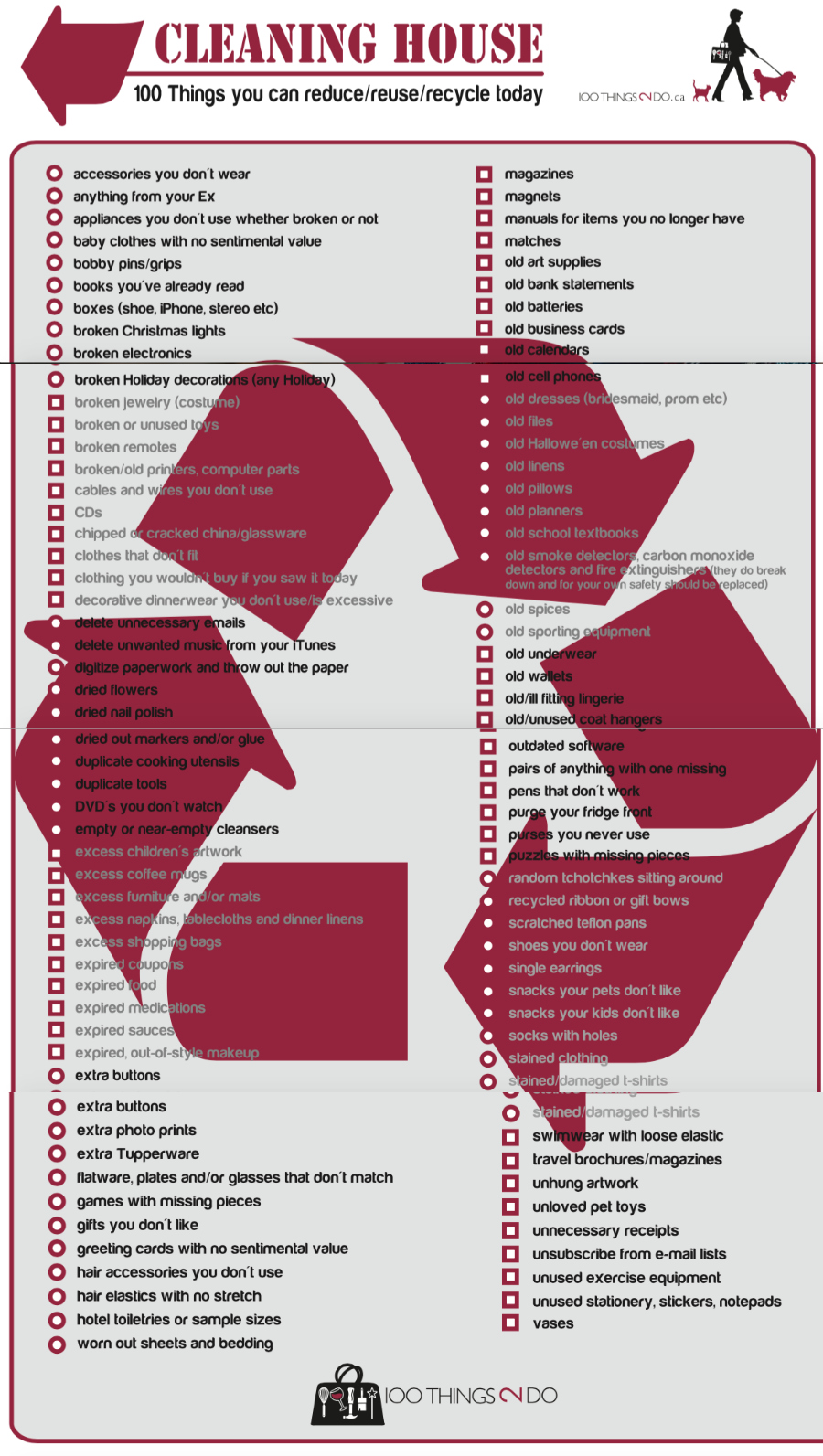 100 things to declutter, 100 things to get rid of, purge, declutter, organize, checklist, 100list