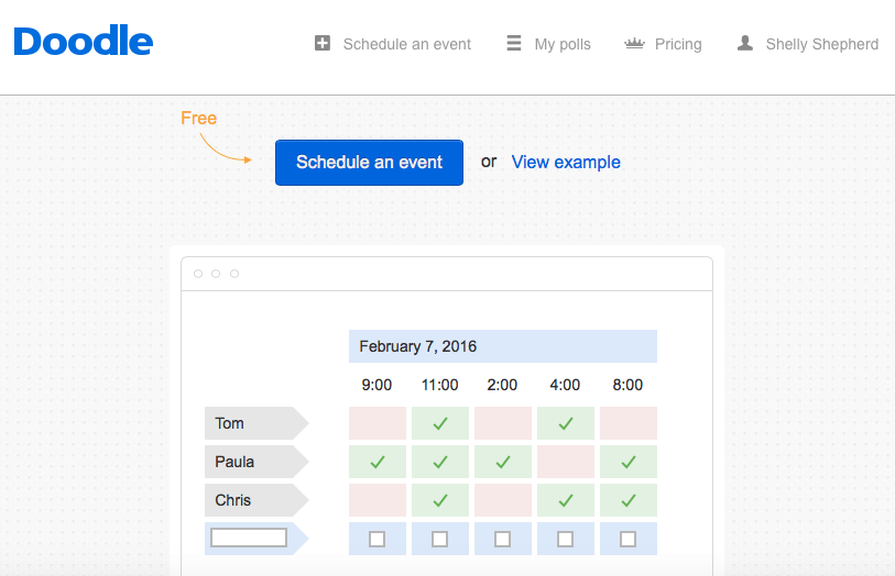 Doodle - an online scheduler app. to help organize group events and meetings