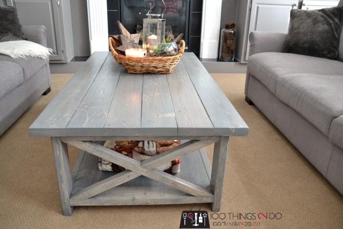 DIY Rustic X Coffee Table 4