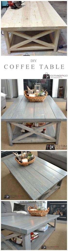 DIY Rustic X Coffee Table P