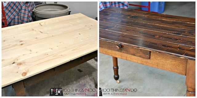 Antique farmhouse table makeover