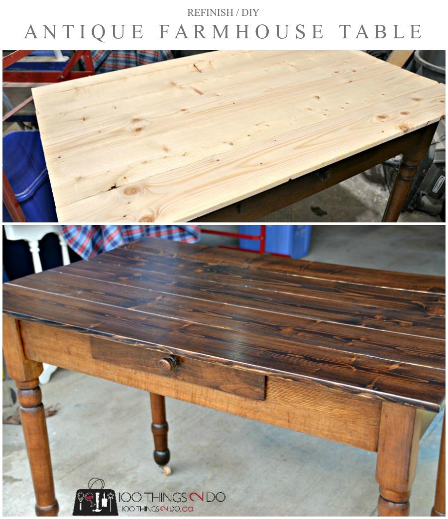 Antique farmhouse table desk P