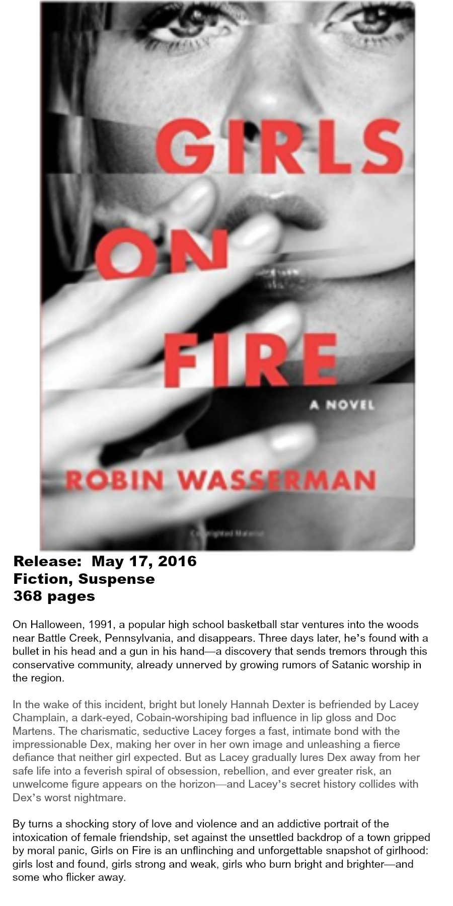 Must-read Books of Summer 2016 - Girls on Fire Robin Wasserman
