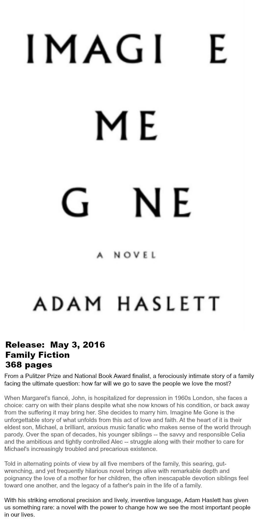 Must-read Books of Summer 2016 - Imagine Me Gone Adam Haslett