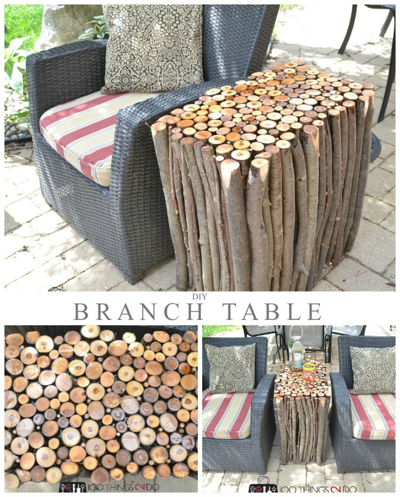 DIY Branch Side Table