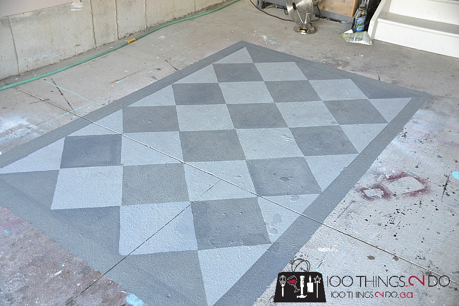 Painted garage floor, Painted rug, painting a rug on concrete, painting a concrete floor