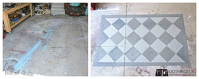 Painted rug, painting a rug on concrete, painting a concrete floor