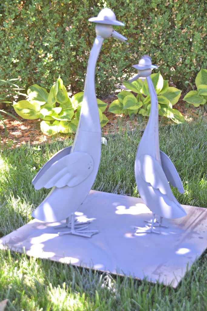 Metal Garden Art - refinishing our ducks
