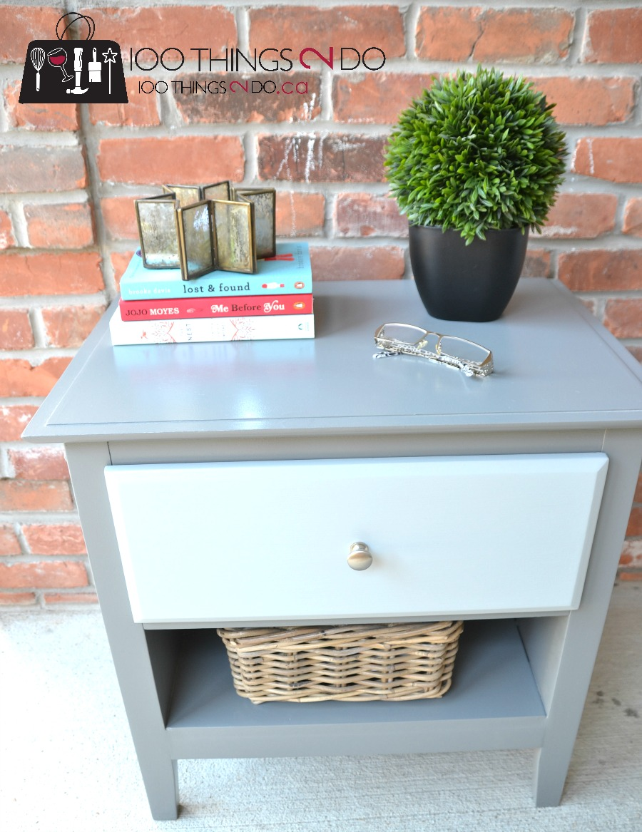 How to add a shelf, adding a shelf to furniture, add a shelf to furniture, replace a drawer with a shelf, nightstand makeover, two-tone nightstand, grey nightstand