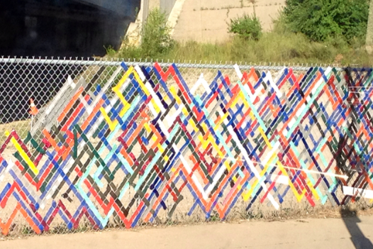Fence mural, fence art, painted fence, garden art, chain link fence