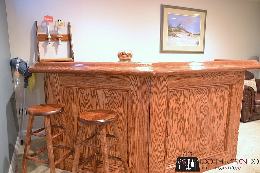 Basement makeover, man cave, theatre room, rec room, basement space, oak bar, DIY bar