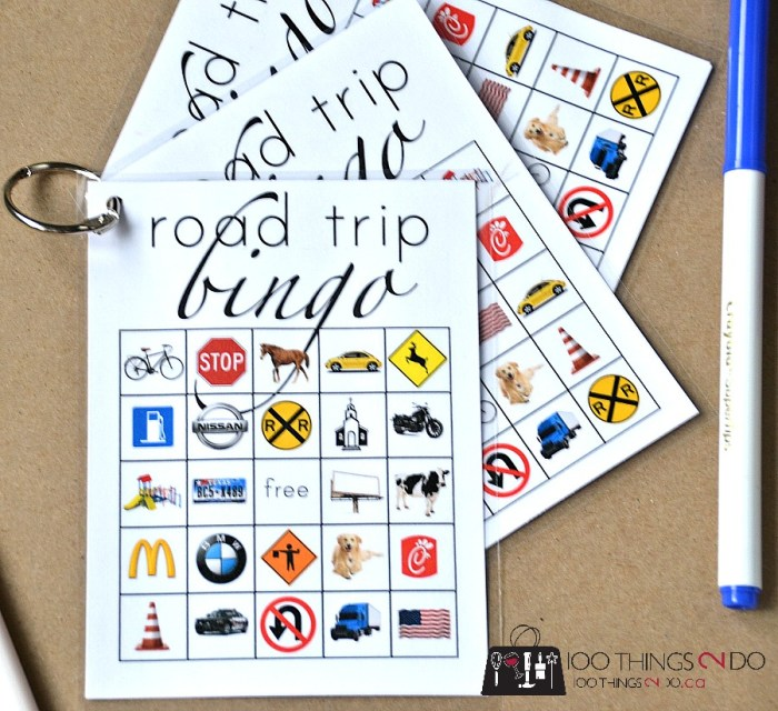 laminated, laminated crafts, laminated checklists, uses for a laminator, craft ideas worth laminating, organizing ideas worth laminating, road trip bingo, car bingo
