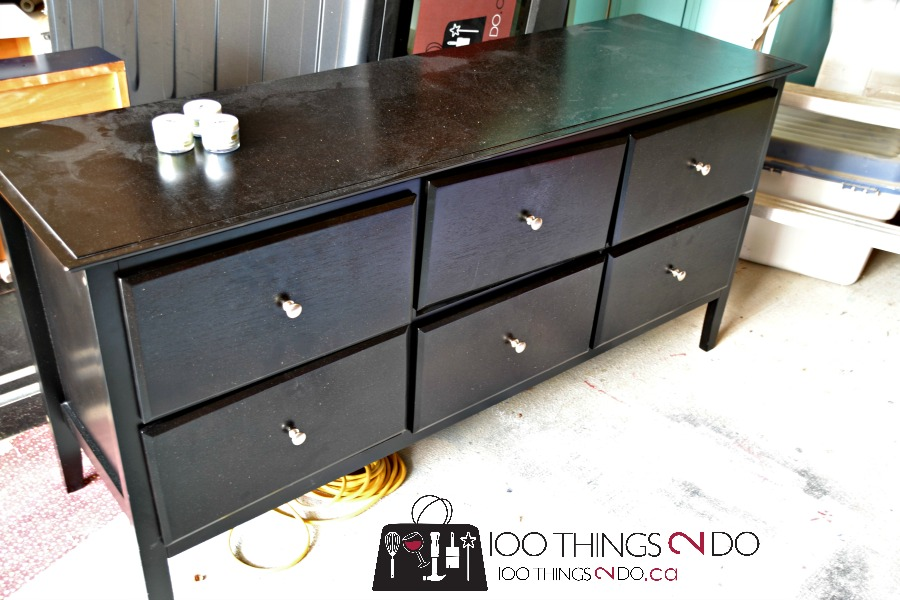 Dresser makeover - from boring black to quad-coloured teen dream!  Painted dresser.