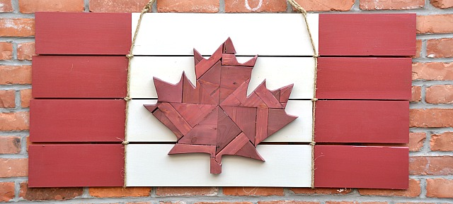 Scrap wood Canadian Flag, scrap wood leaf, Canadiana, Canadian flag, scrap wood project