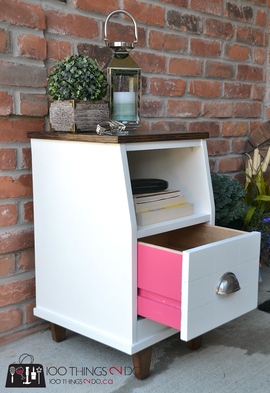 Two-tone bedside table, nightstand makeover, refinished nightstand