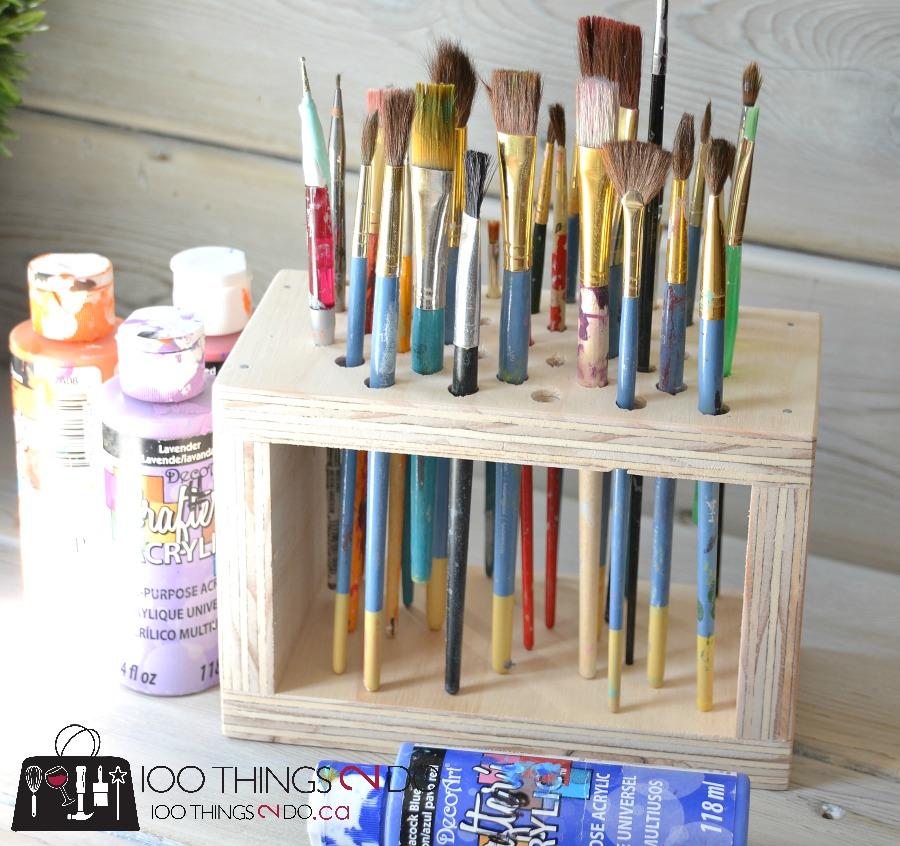 Paint brush storage rack, paint brush organization
