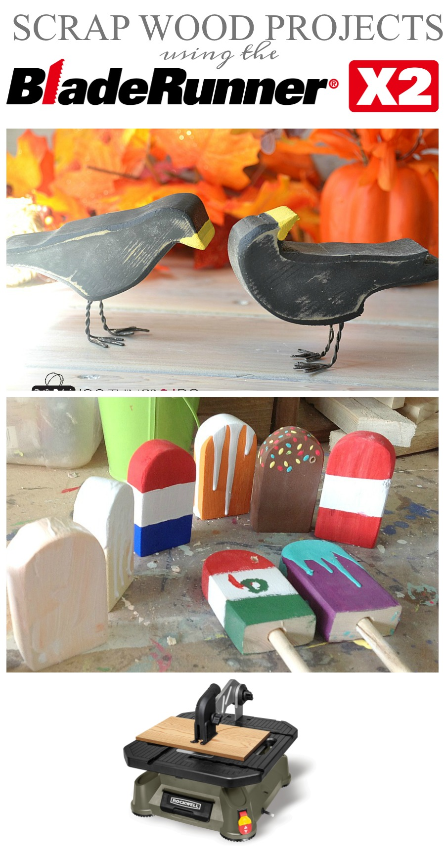 Scrap wood crows, Halloween decor, Hallowe'en crows, scrap wood crows, Rockwell Bladerunner X2
