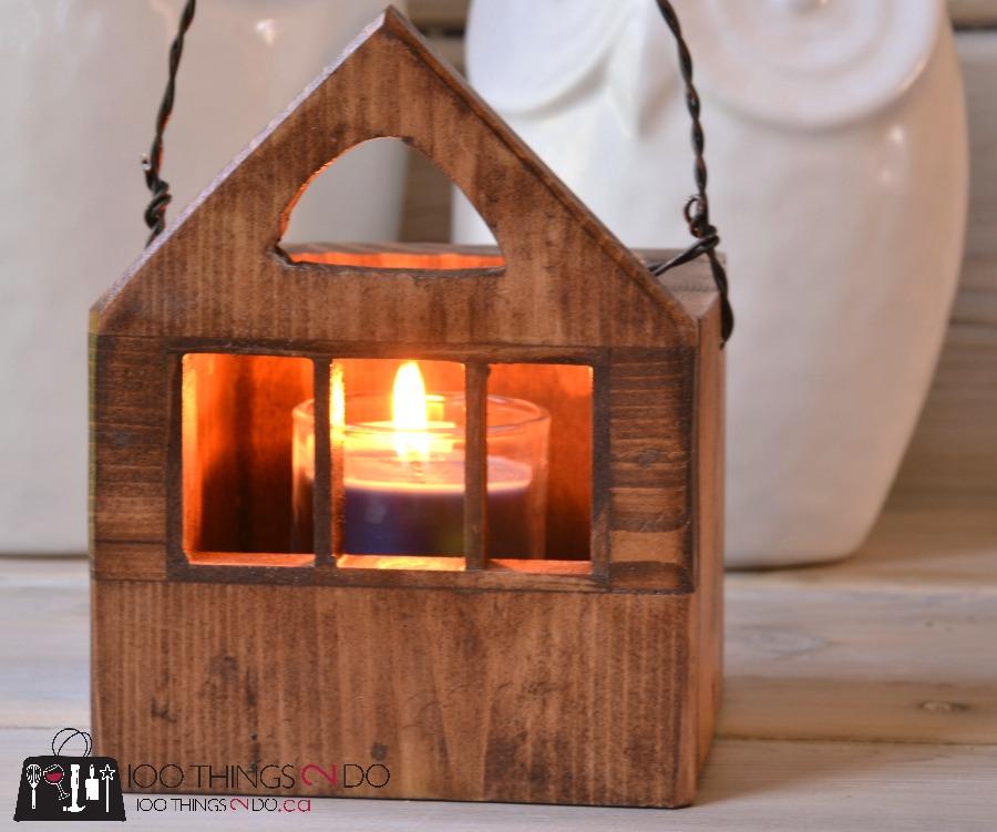 Wood house candle holder, wood tea light house, tea light house