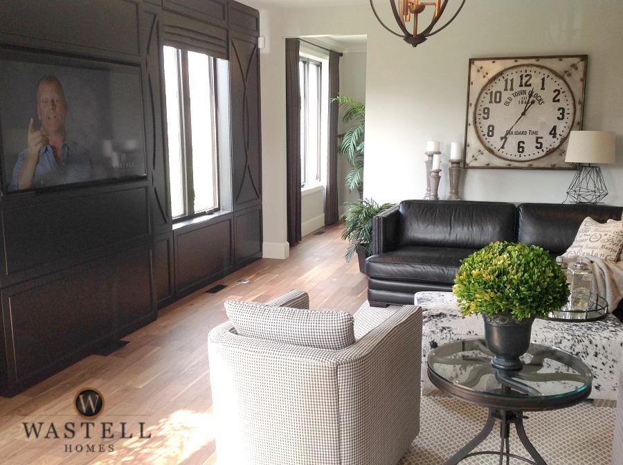family room, luxury den, dream family room, gray owl Benjamin Moore, dream home, model home, Wastell homes