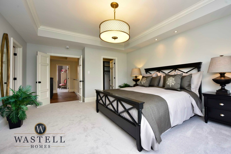 master bedroom, gray bedroom, master ensuite, bedroom, gray owl Benjamin Moore, dream home, model home, Wastell homes
