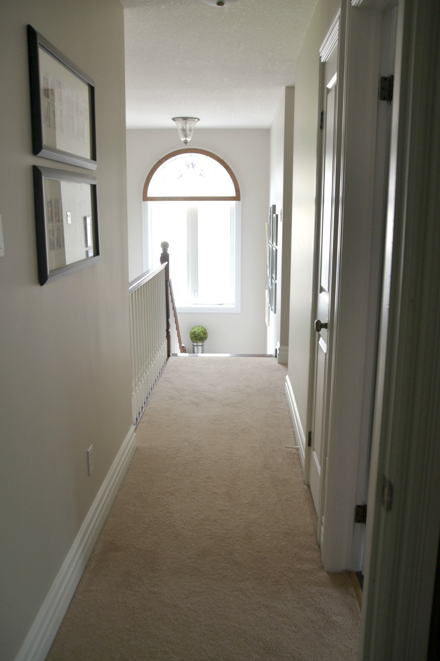 Foyer makeover, hall makeover, Wilmington Tan, Balboa Mist