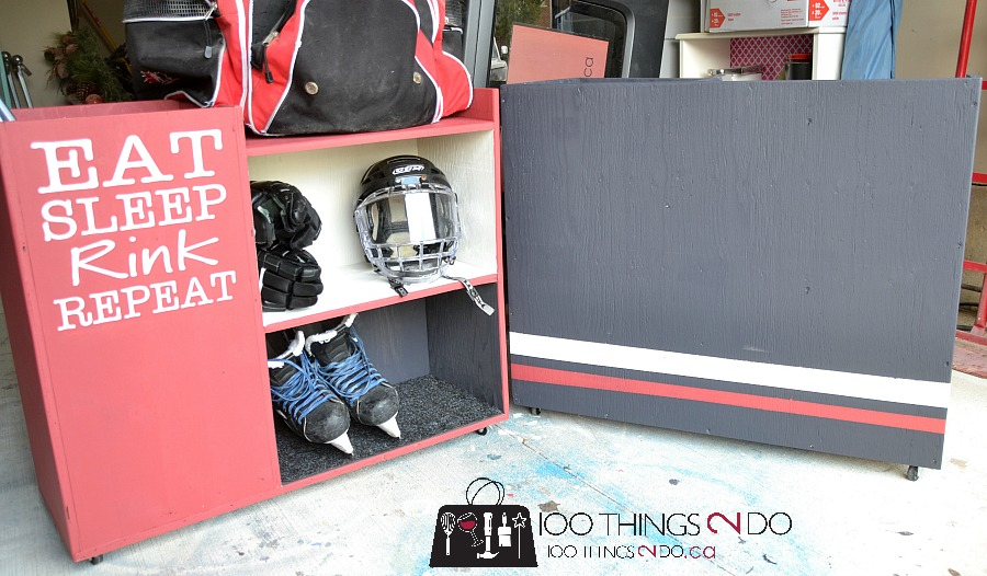 DIY sports storage cart, organizing sporting equipment, hockey storage rack, baseball storage cart, storing sports equipment