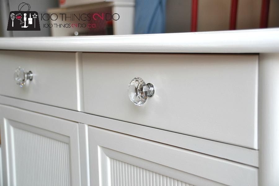 Cabinet makeover, sideboard makeover, painting oak cabinets, refinished sideboard