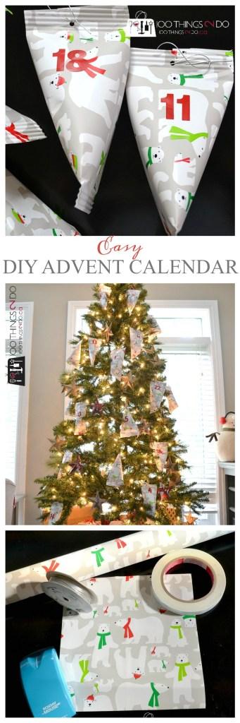 Easy DIY Advent Calendar, the easiest DIY Advent calendar going, advent calendar, gift wrap treats, treat ornaments