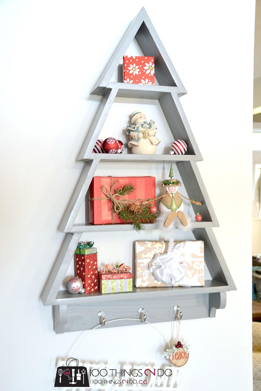 DIY Christmas tree shelf, tree shelf, scrap wood Christmas decor, free building plans, wood tree
