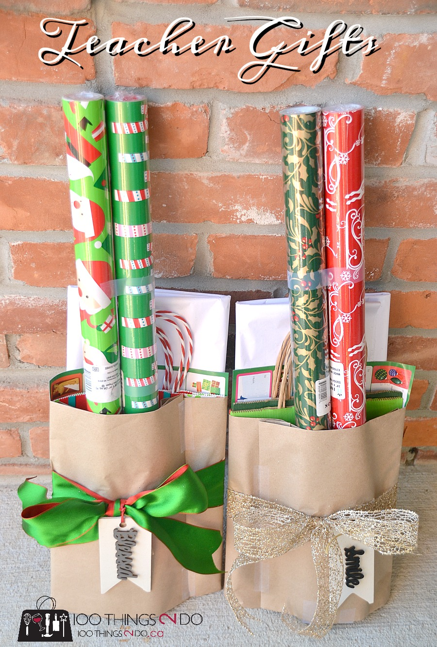 Teacher gift, neighbour gift, gift idea, wrapping paper, gift wrap, inexpensive gift ideas