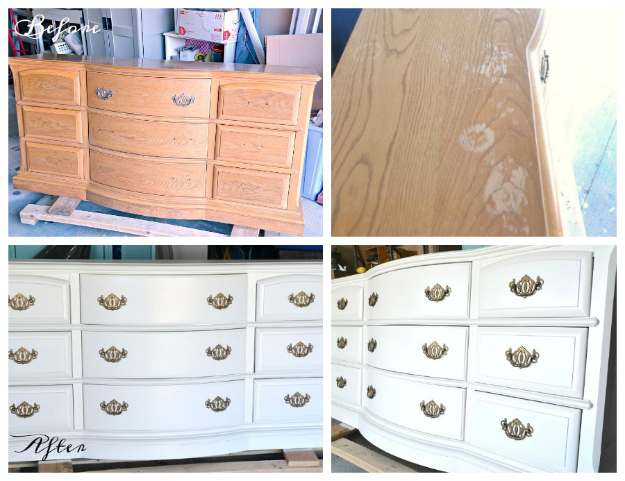 dresser makeover, oak dresser, white dresser, before and after dresser