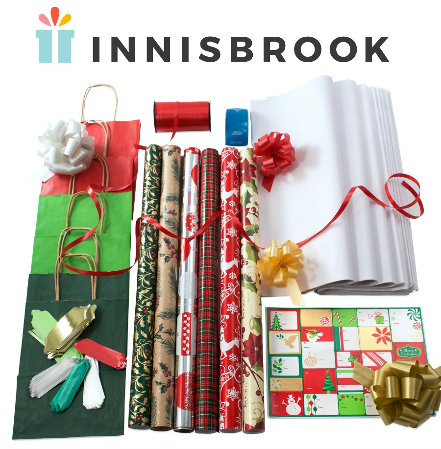 Gift wrap, wrapping paper, Christmas wrap, coordinated gift wrap, Innisbrook, Sophisticated Santa gift wrap kit