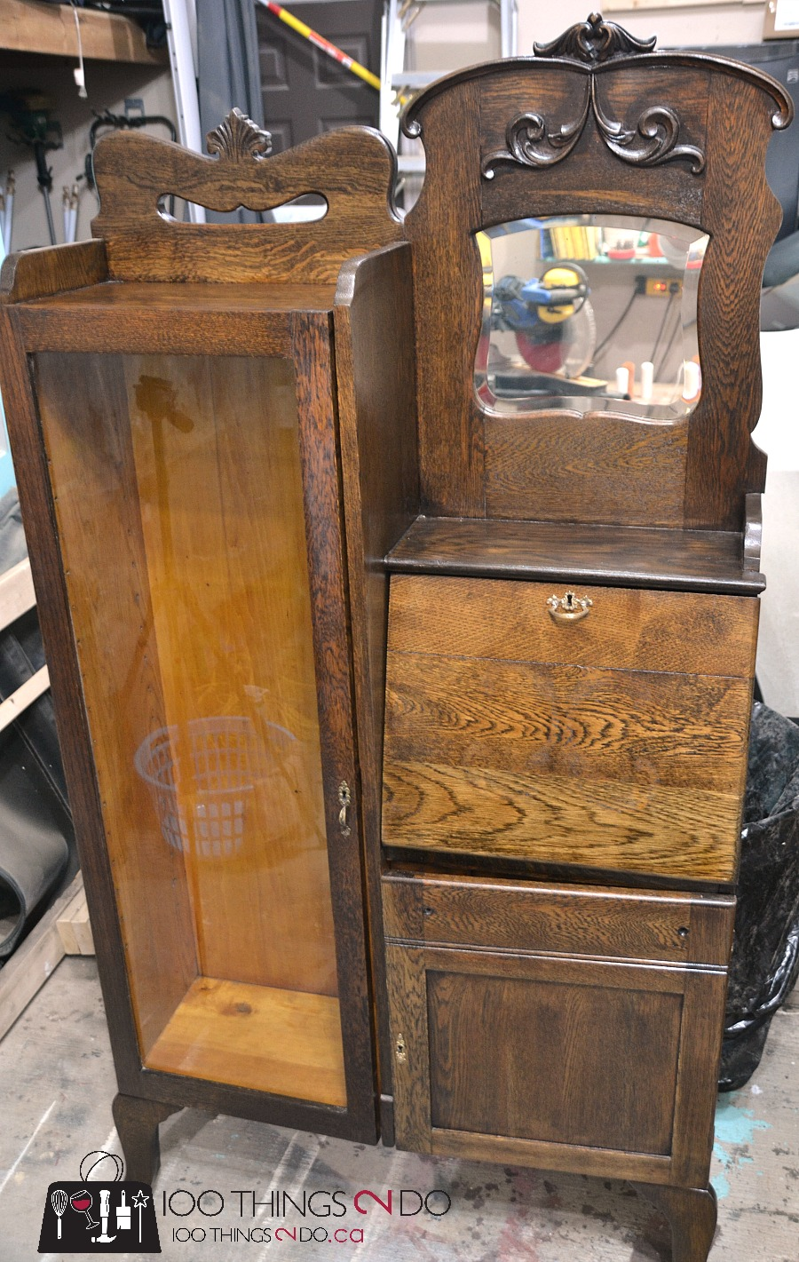 Antique secretary desk, refinished secretary, refinishing antiques, before & after secretary
