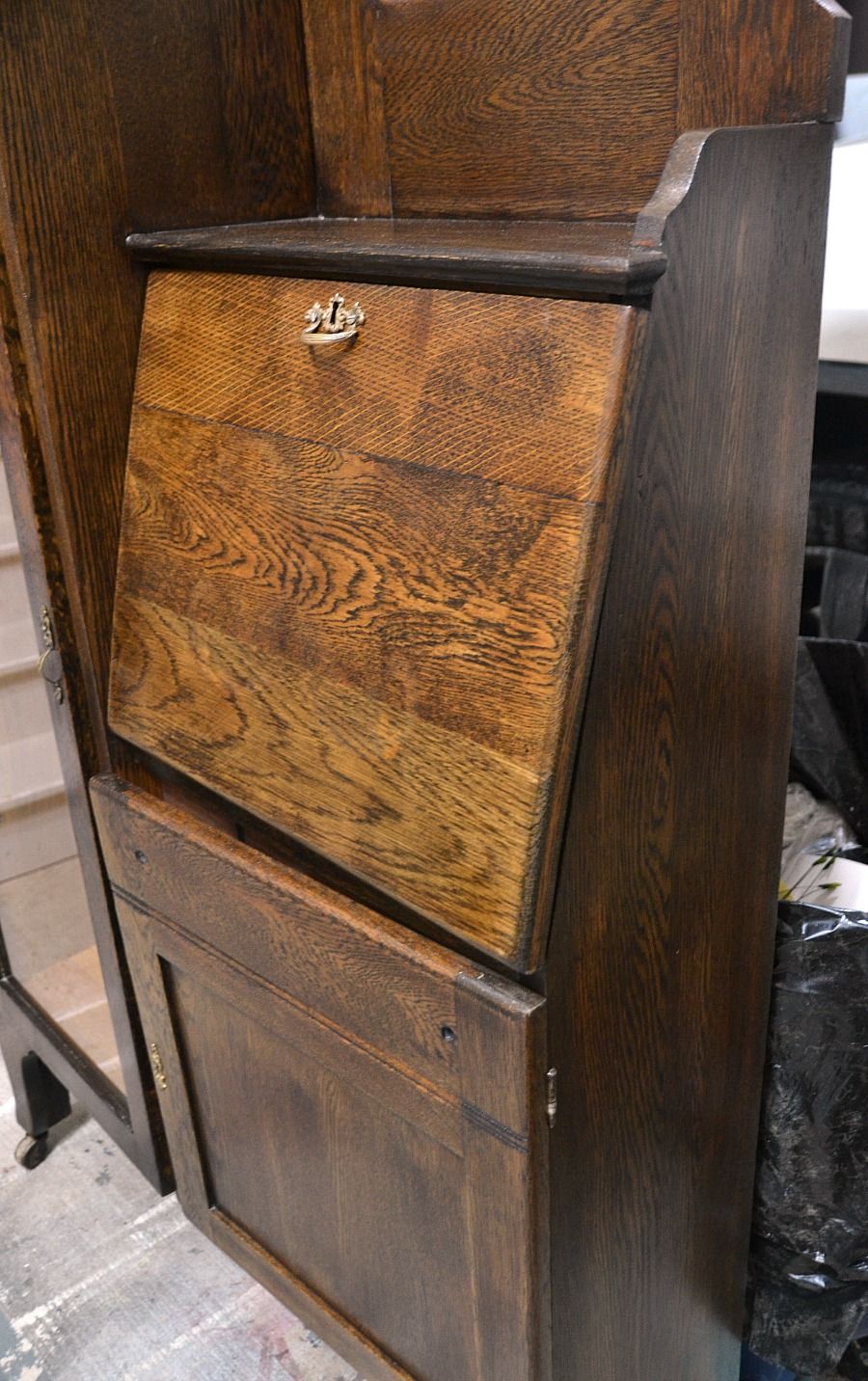 Antique secretary desk, refinished secretary, refinishing antiques, before & after secretary