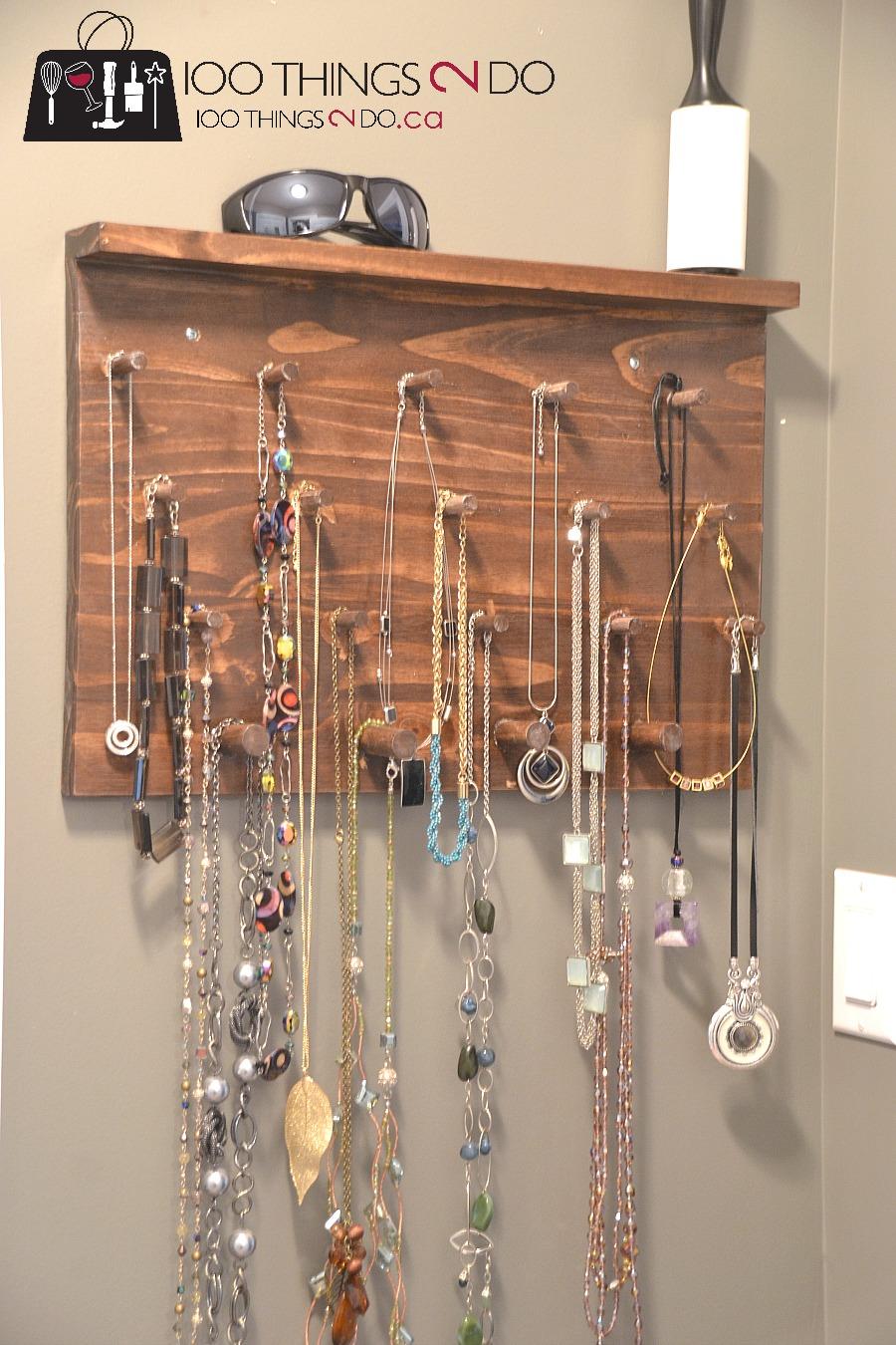 DIY Tie Rack, gifts for him, tie rack, easy tie rack, DIY jewelry rack, DIY jewellery rack, necklace holder