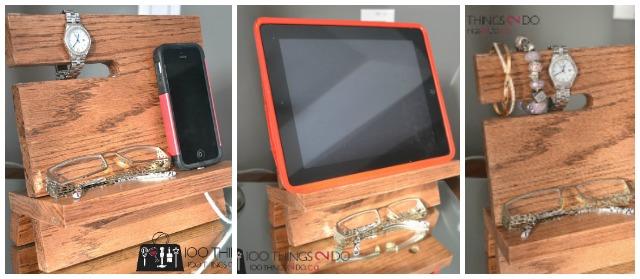 iPhone stand, wood iPhone stand, wood iPhone dock, iPhone valet, nightstand valet, iPad valet