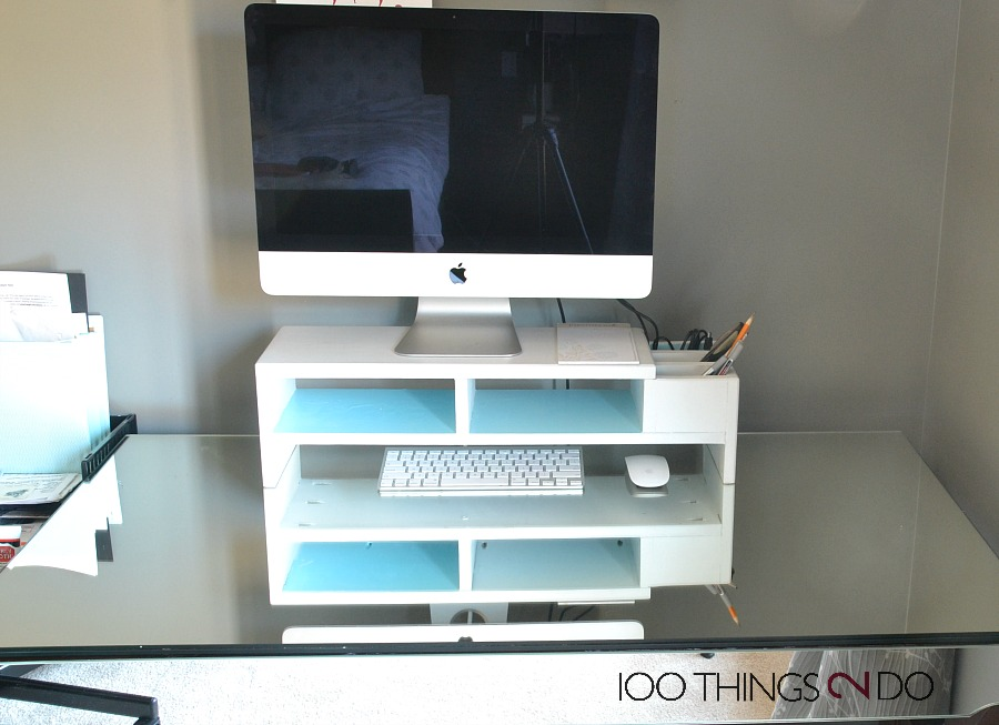 DIY monitor stand, monitor stand, desk organization