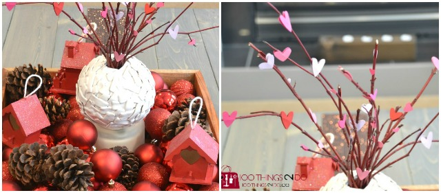 Valentine's decor, Valentine's Day decorations, Valentines Vignette, heart branches, papercraft hearts on branches, Valentine's coffee table