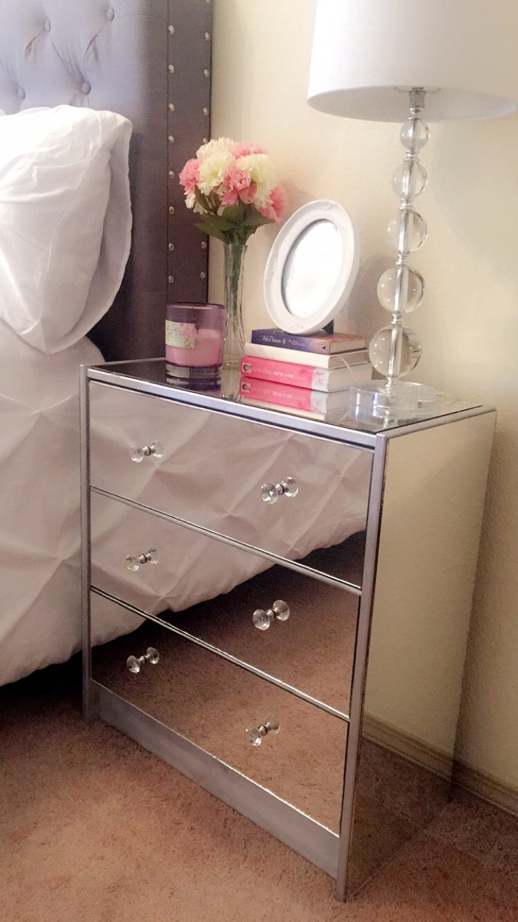 Ikea Rast hacks, 50 of the best Ikea Rast hacks, DIY mirrored dresser, DIY mirrored nightstand, Ikea rast makeover, nightstand, bedside table, Ikea hacks
