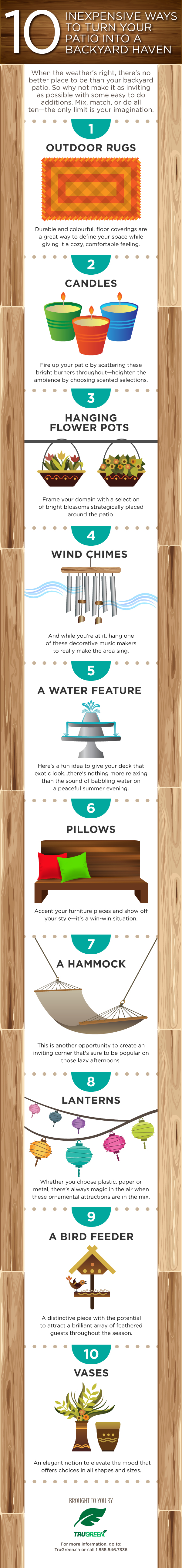 Patio prep, Spring prep for your patio, Spring yard prep, decorating your patio, prepping your yard for Spring, TruGreen infographic